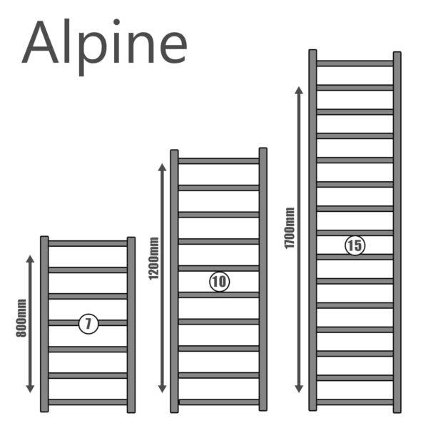 Alpine Modern Heated Towel Rail Warmer Radiator, Round Tube Chrome - Size Guide