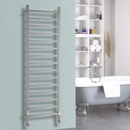 Ballaugh Modern Electric Heated Towel Rail Warmer Radiator, Square Tube Chrome + Wireless Timer, Thermostat BUY ONLINE