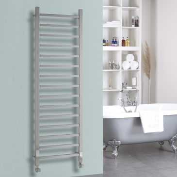 Ballaugh Modern Electric Heated Towel Rail Warmer Radiator, Square Tube Chrome + Fused Spur Timer BUY ONLINE
