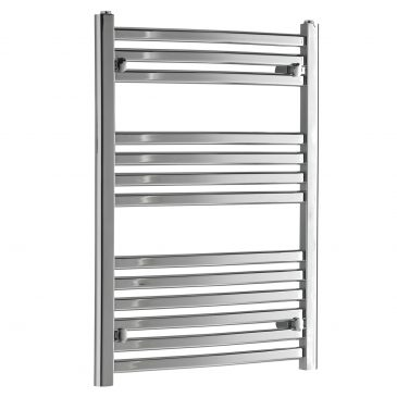 Crosby Designer Flat Tube Heated Towel Rail Warmer Radiator, Curved Chrome - Small