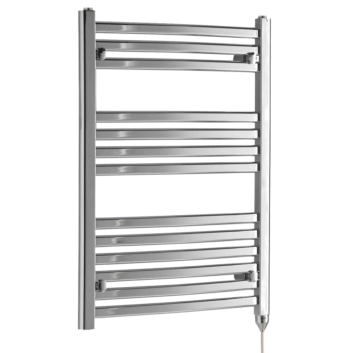 Crosby flat tube heated towel rail chrome electric - Electric bathroom radiators with timer ...