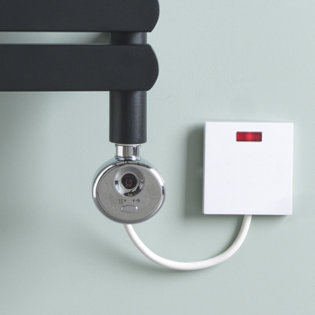 The Greeba Black Designer Heated Towel Rail: Dual Fuel Thermostatic Electric