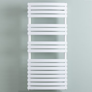 Greeba Modern Thermostatic Electric Heated Towel Rail Warmer Radiator, Curved Flat Panel White + Timer, Remote