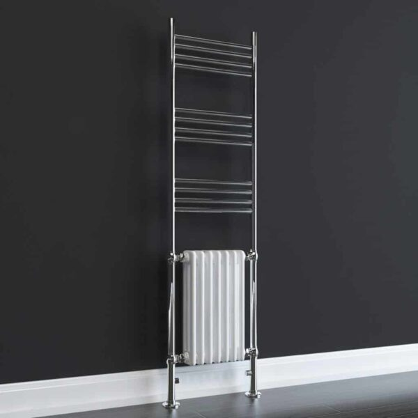 DUKE ELEMENTS Traditional Victorian Heated Towel Rail / Column Radiator, Tall, WHITE