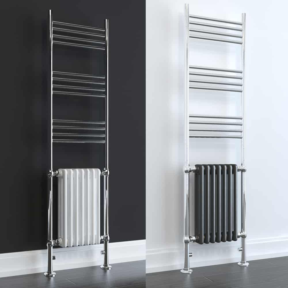 DUKE ELEMENTS Traditional Victorian Heated Towel Rail / Column Radiator, Tall DUAL FUEL