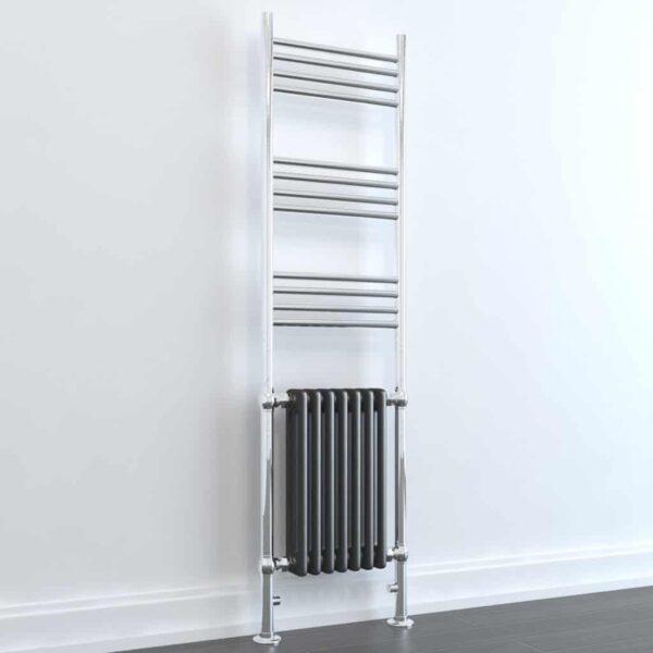 DUKE ELEMENTS Traditional Victorian Heated Towel Rail / Column Radiator, Tall, ANTHRACITE GREY