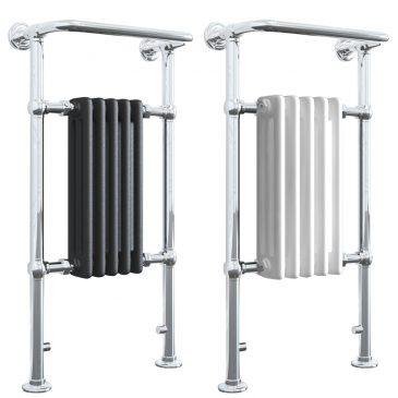 RAMSEY ELEMENTS Traditional Victorian Heated Towel Rail / Column Radiator – Central Heating Radiator Hybrid Central Heated WHITE / LAVA