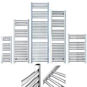 BRAY Straight Heated Towel Rail / Warmer, Chrome - Dual Fuel + Fused Spur Timer