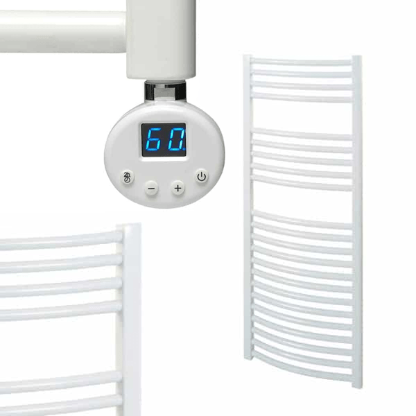 BRAY R1 Curved White Heated Towel Rail, Thermostatic Electric