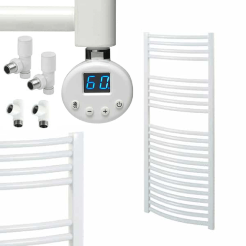 BRAY R1 Curved White Heated Towel Rail, Thermostatic Dual Fuel + Timer