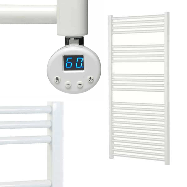BRAY R2 Straight White Heated Towel Rail, Thermostatic Electric + Timer