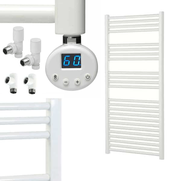 BRAY R1 Straight White Heated Towel Rail, Thermostatic Dual Fuel + Timer