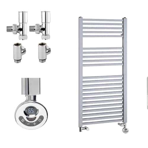 LAUREL Square Tube Modern Heated Towel Rail / Warmer - Dual Fuel, Thermostat + Timer