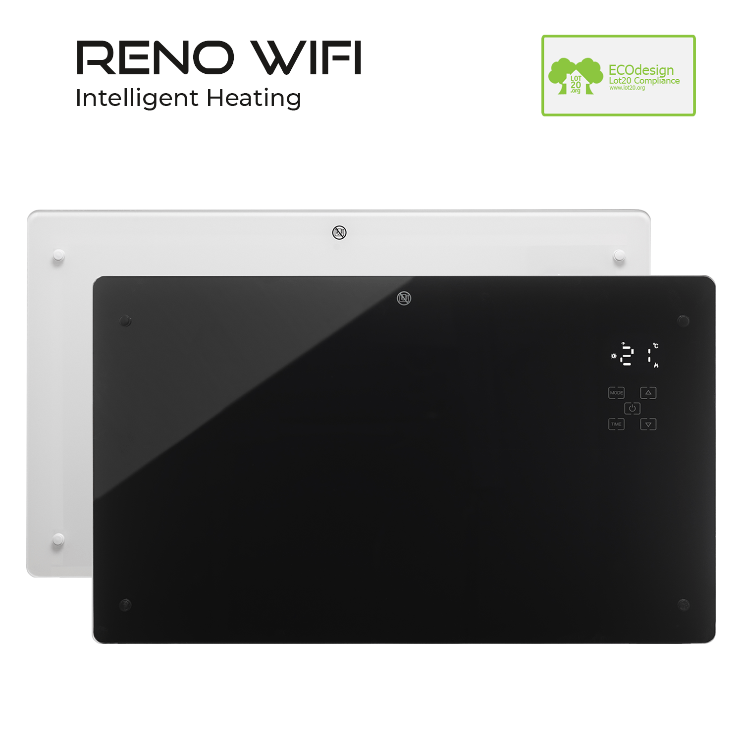 RENO Black- White WiFi Electric Wall Heater Radiator