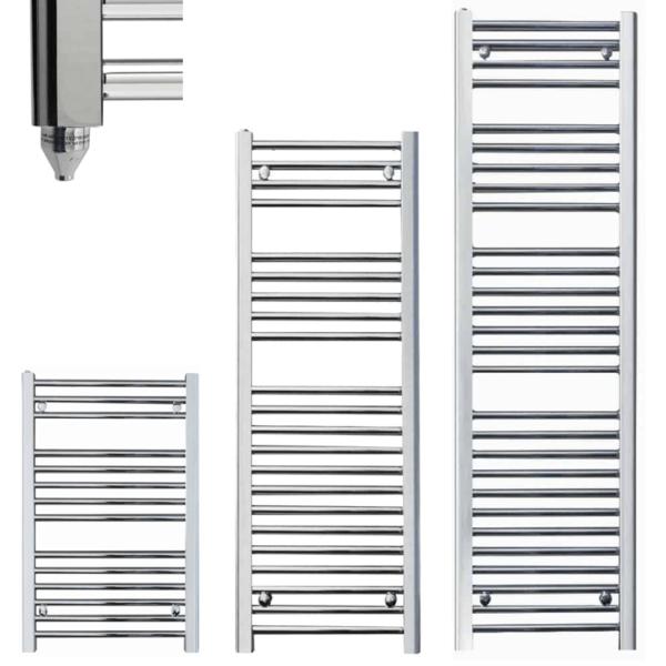 SALE: Qual-Rad Chrome Electric Heated Towel Rail / Warmer / Radiator IP67