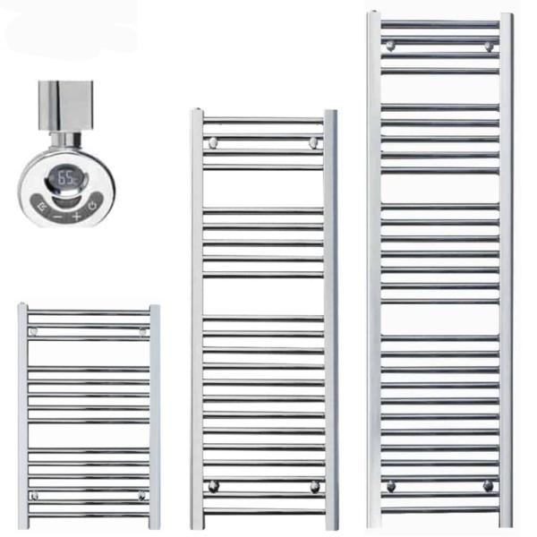 SALE: Qual-Rad Chrome Heated Towel Rail / Warmer / Radiator - Thermostatic Electric