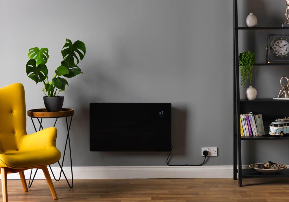 Black Vitra 2000w Wall Mounted Panel Heater Smart WiFi